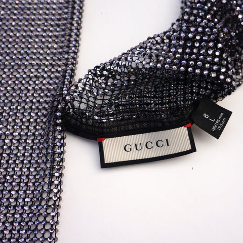GUCCI 2017 RUNWAY CRYSTAL & MESH ELBOW FINGERLESS GLOVES Shop online the best value on authentic designer used preowned consignment on Leef Luxury.