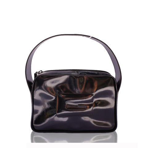GUCCI G BLACK PATENT HANDLE BAG - leefluxury.com