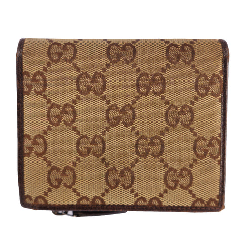GUCCI GG CANVAS LEATHER WALLET Shop online the best value on authentic designer used preowned consignment on Leef Luxury.