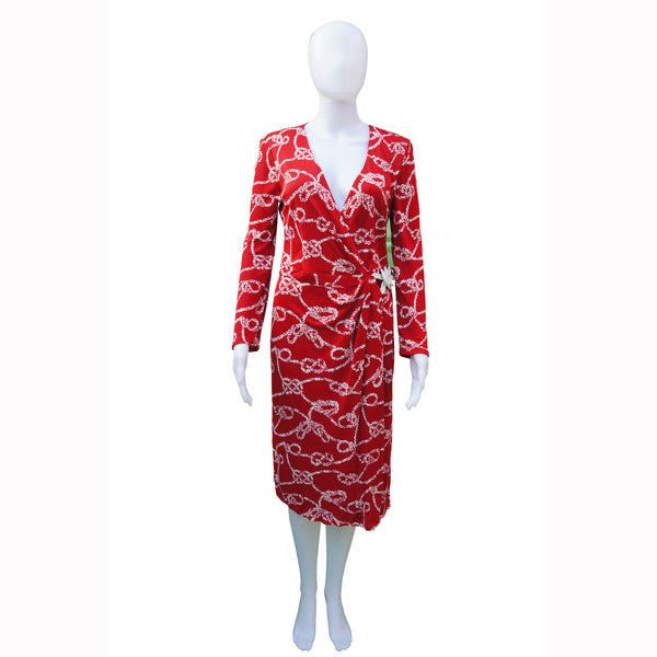 Gucci Wrap Red Rope Print Dress Long Sleeve Leather Tie