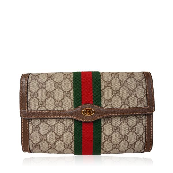 GUCCI GG SUPREME WEB CLUTCH BAG