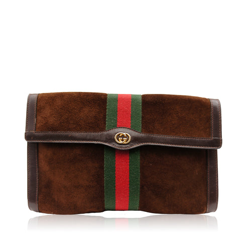 GUCCI WEB SUEDE CLUTCH BAG