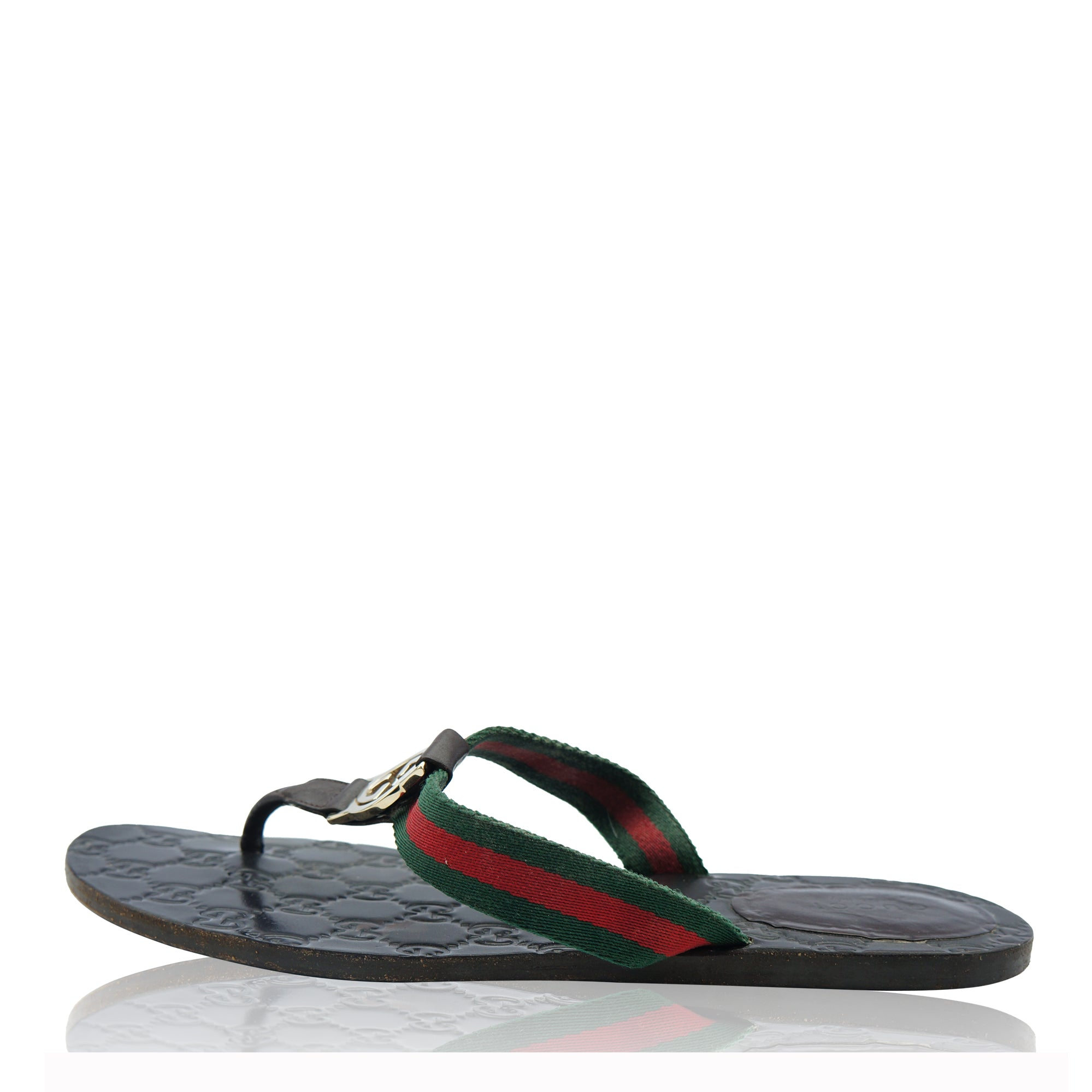 a08096374d217 GUCCI GG WEB LEATHER THONG SANDALS Shop online the best value on authentic  designer used preowned ...