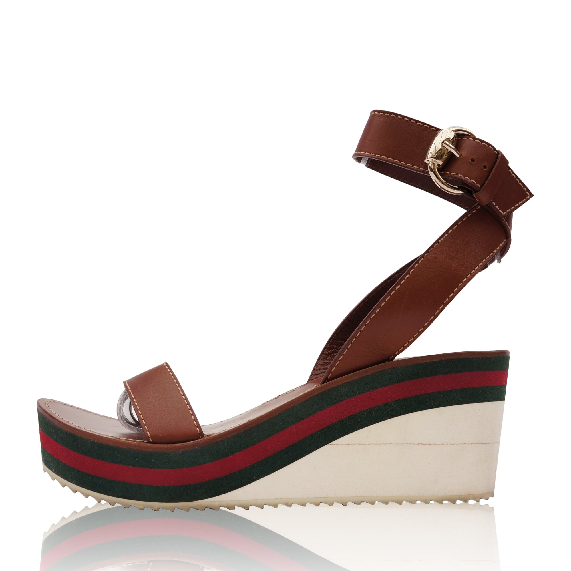 89f0c07031a5 GUCCI WEB LEATHER WEDGE SANDAL Shop online the best value on authentic  designer used preowned consignment ...