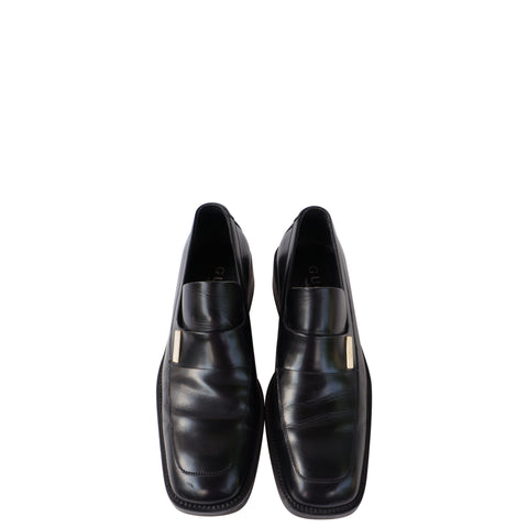 GUCCI BLACK LEATHER SLIP ON LOAFER - leefluxury.com