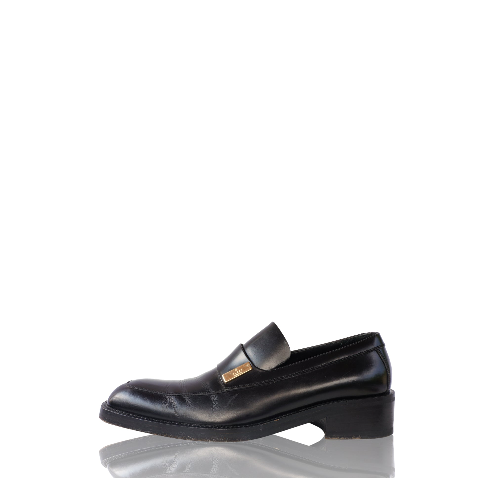 20637351a GUCCI BLACK LEATHER SLIP ON LOAFER Shop online the best value on authentic  designer used preowned ...