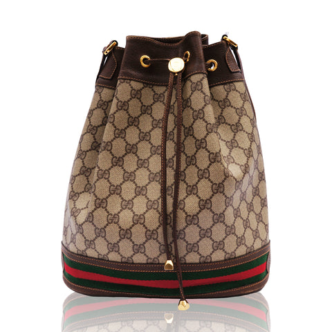 GUCCI WEB SUPREME BUCKET SHOULDER BAG Shop online the best value on authentic designer used preowned consignment on Leef Luxury.