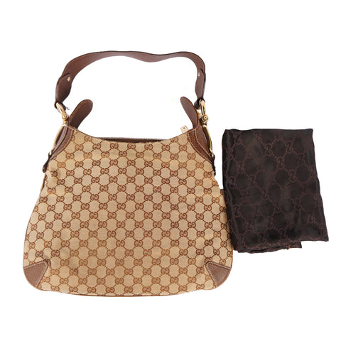 GUCCI GG CREOLE CANVAS LEATHER HOBO BAG Shop online the best value on authentic designer used preowned consignment on Leef Luxury.