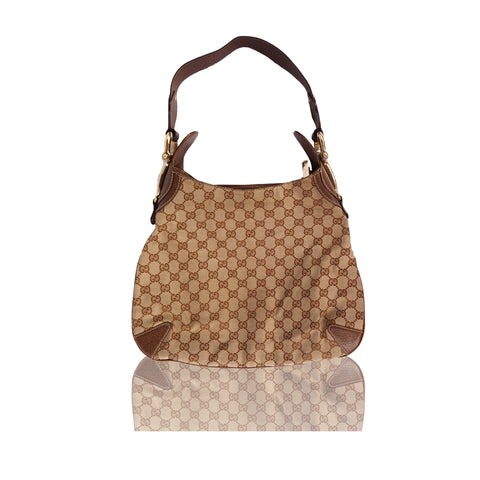 GUCCI GG CREOLE CANVAS LEATHER HOBO BAG - leefluxury.com