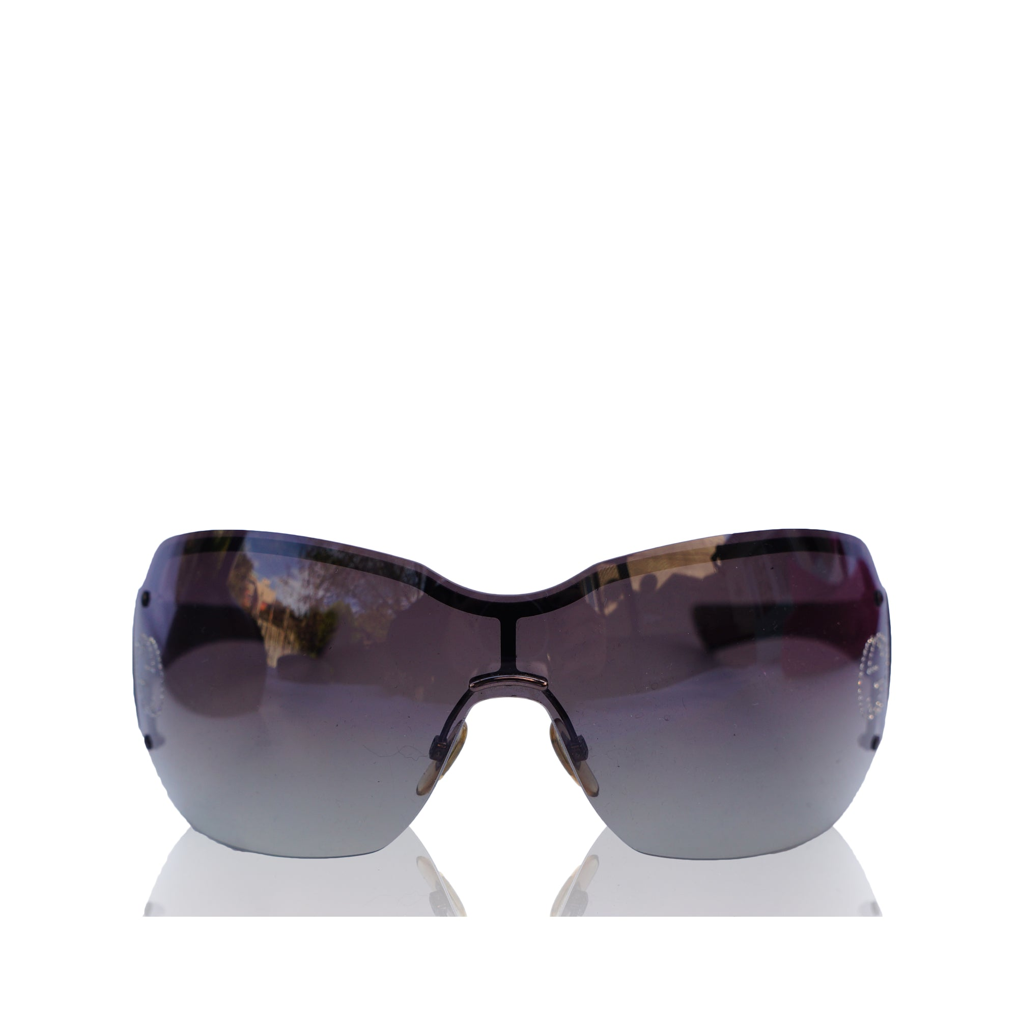 75f6e4884f218 GUCCI CRYSTAL GG SHIELD SUNGLASSES Shop online the best value on authentic  designer used preowned consignment ...