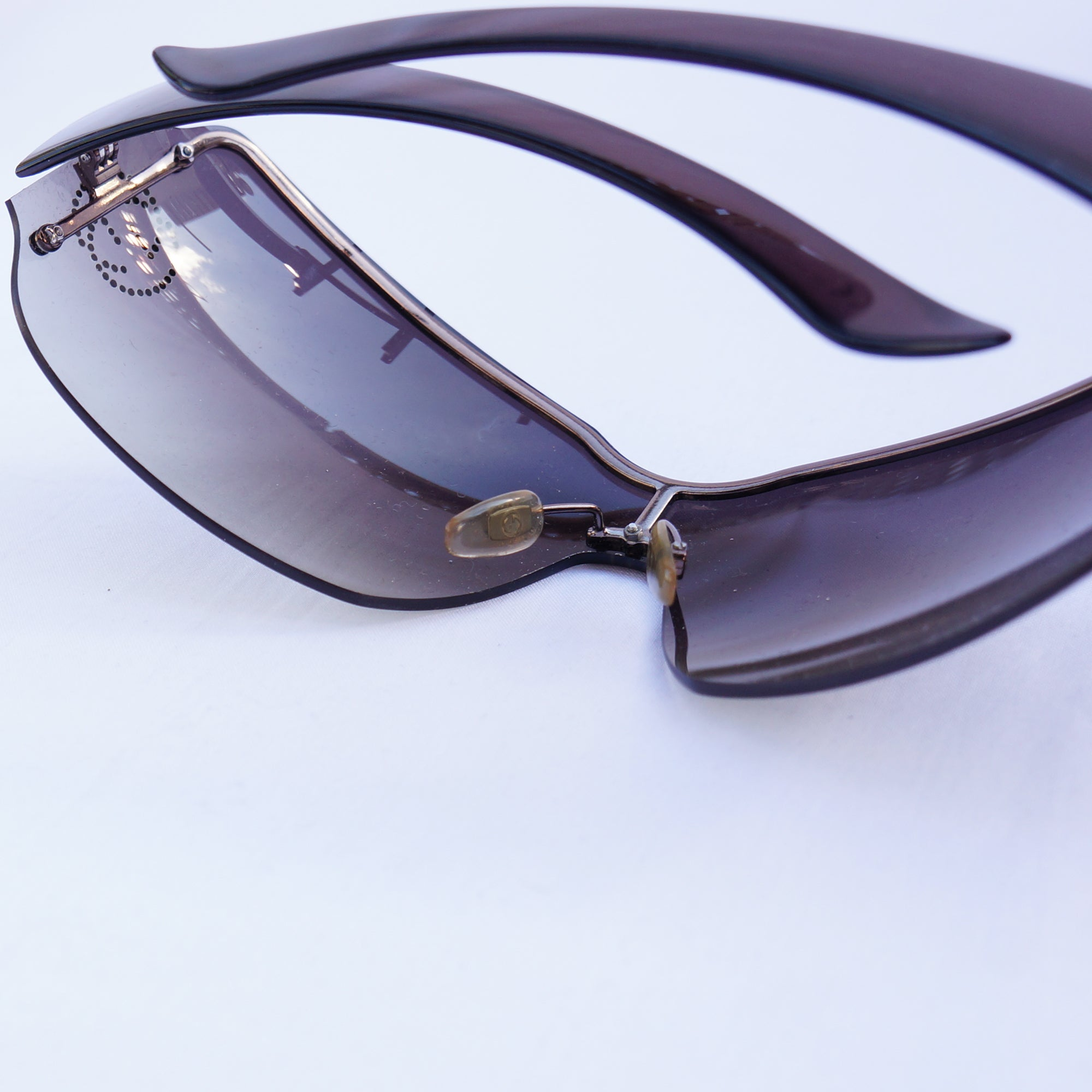 ba20ceb033 ... GUCCI CRYSTAL GG SHIELD SUNGLASSES Shop online the best value on authentic  designer used preowned consignment ...
