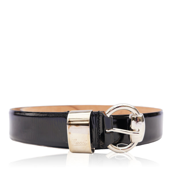 GUCCI PATENT LEATHER HORSE BIT BELT