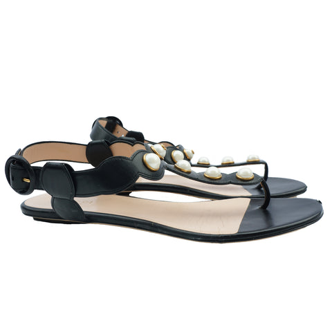 GUCCI 2016 WILLOW PEARL THONG SANDALS - leefluxury.com