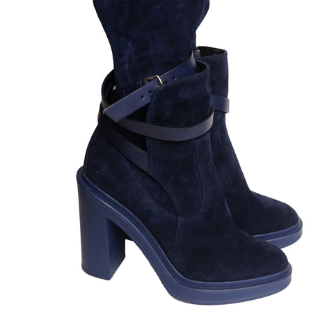 HERMES SELENA BLUE SUEDE OVER THE KNEE FALL WINTER 2018/2019 BOOT