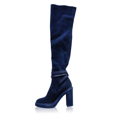 HERMES SELENA BLUE SUEDE OVER THE KNEE FALL WINTER 2018/2019 BOOT - leefluxury.com