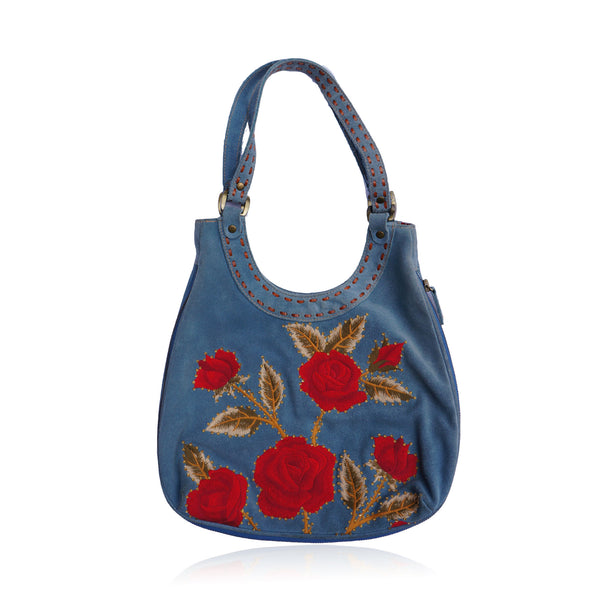 ISABELLA FIORE BOHO SUEDE FLORAL CRYSTAL SHOULDER HOBO BAG