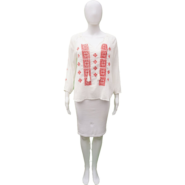 JOIE WHITE RED EMBROIDERED BEAD EMBELLISHMENT TOP