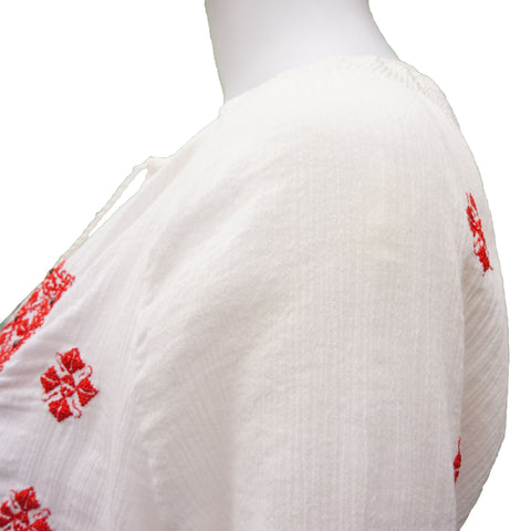 JOIE WHITE RED EMBROIDERED BEAD EMBELLISHMENT TOP - leefluxury.com