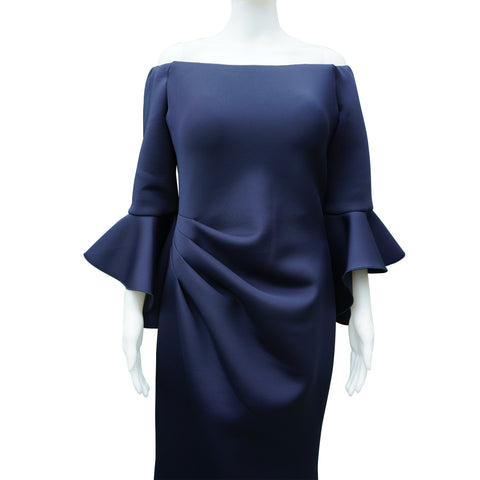 JOVANI NAVY OFF THE SHOULDER FULL LENGTH GOWN  Shop online the best value on authentic designer used preowned consignment on Leef Luxury.