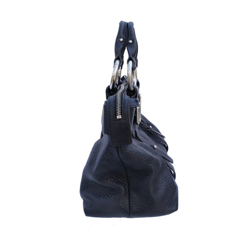 KENNETH COLE BLACK LEATHER SATCHEL HANDBAG Shop online the best value on authentic designer used resale preowned consignment on Leef Luxury.
