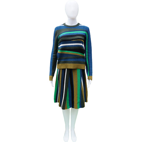 KENZO WOOL STRIPED TOP AND SKIRT SET - leefluxury.com