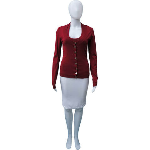 DOLCE & GABBANA RED CARDIGAN SET - leefluxury.com