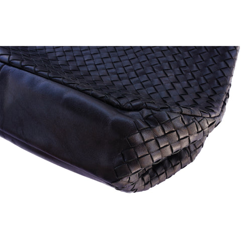 BOTTEGA VENETA INTRECCIATO BLACK HOBO BAG - leefluxury.com