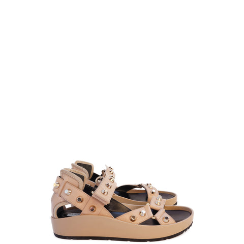 BALENCIAGA TAN MULTISTRAP STUDDED SANDALS Shop the best value on authentic designer resale consignment on Leef Luxury
