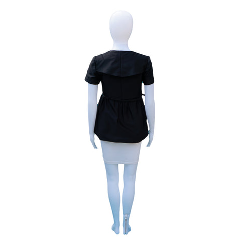 BURBERRY BLACK BELTED SHORT SLEEVE TOP - leefluxury.com