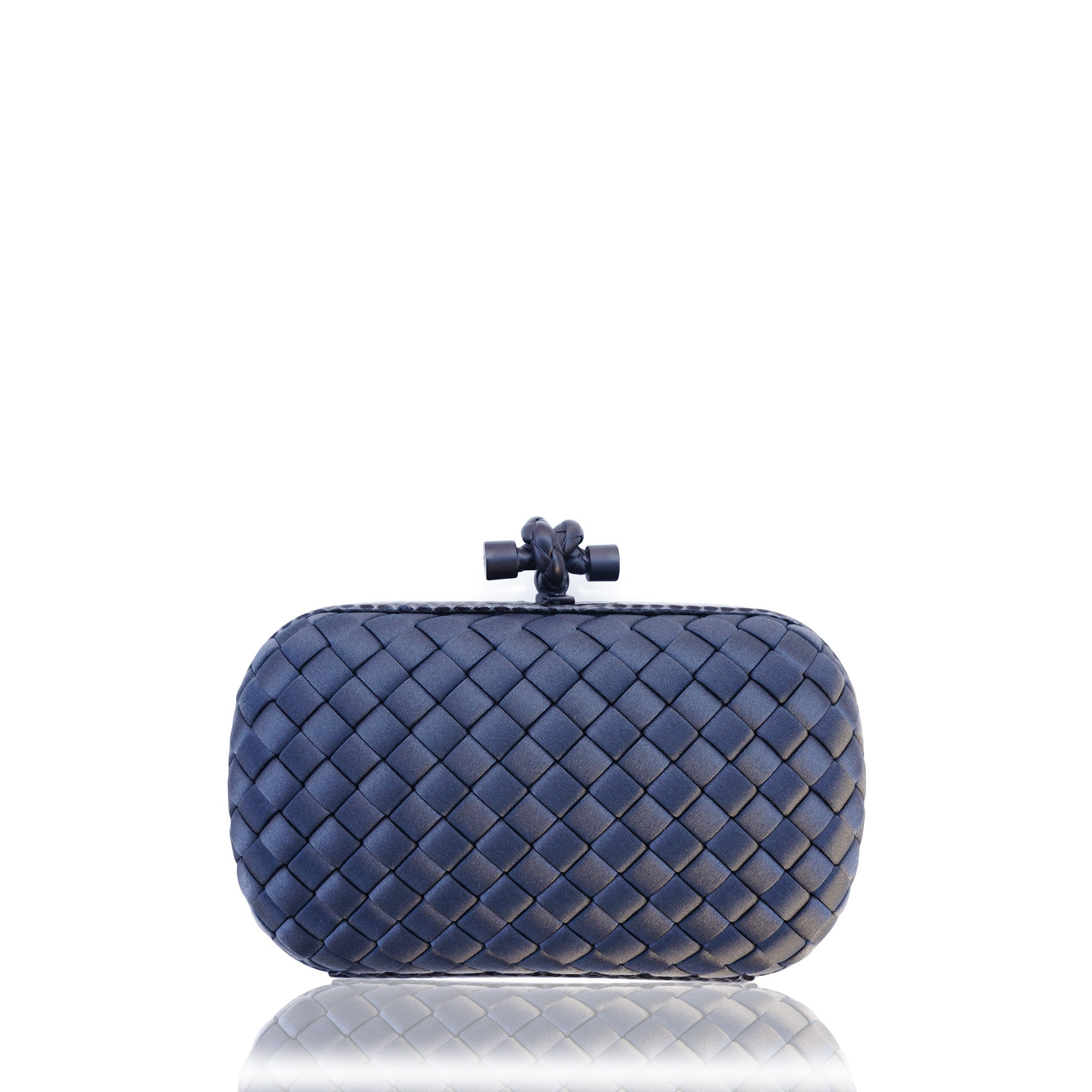 b0165e60b2 BOTTEGA VENETA INTRECCIATO SATIN KNOT CLUTCH Shop the best value on  authentic designer resale consignment on ...