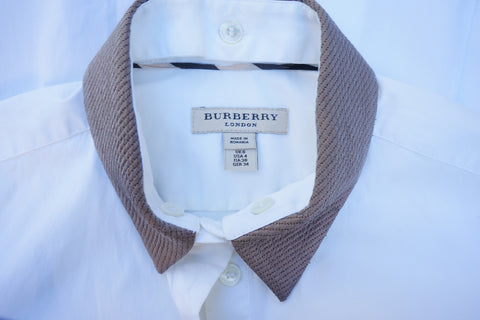 BURBERRY LONDON CROP SLEEVE BUTTON DOWN WITH REMOVABLE COLLAR - leefluxury.com