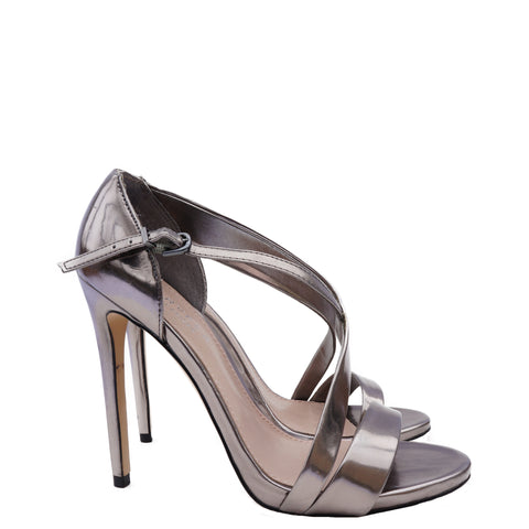 CARVELA KURT GEIGER SILVER METALLIC PATENT LEATHER STRAPPY SANDAL - leefluxury.com