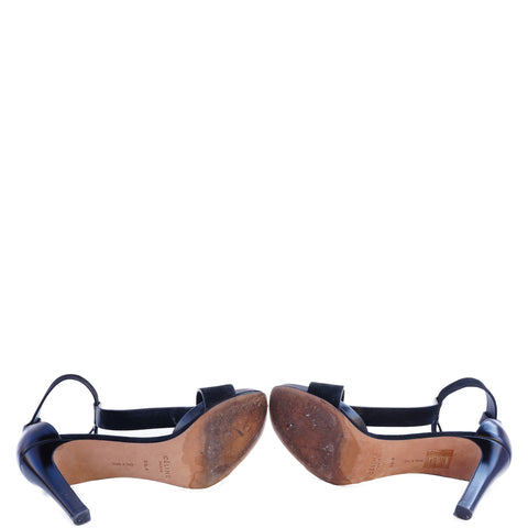 CÉLINE PHOEBE PHILO T-STRAP BLACK LEATHER & SUEDE SANDALS - leefluxury.com