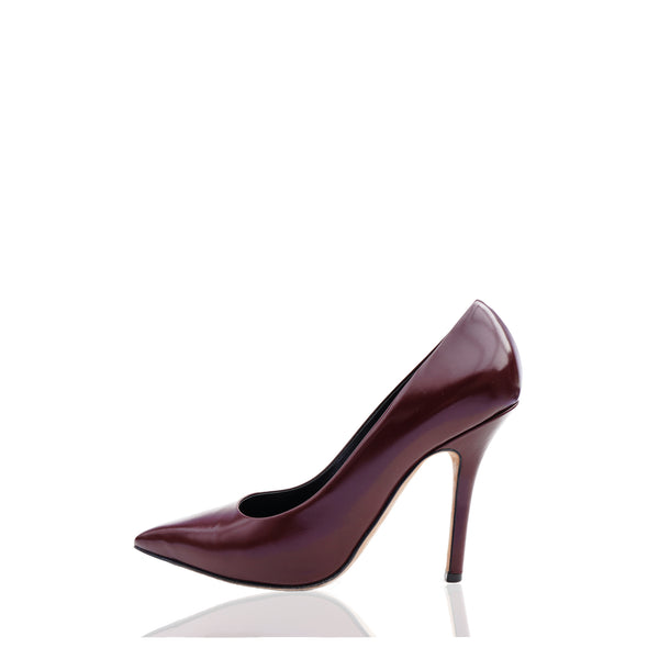 CÉLINE PHOEBE PHILO BURGUNDY LEATHER POINTED-TOE PUMPS