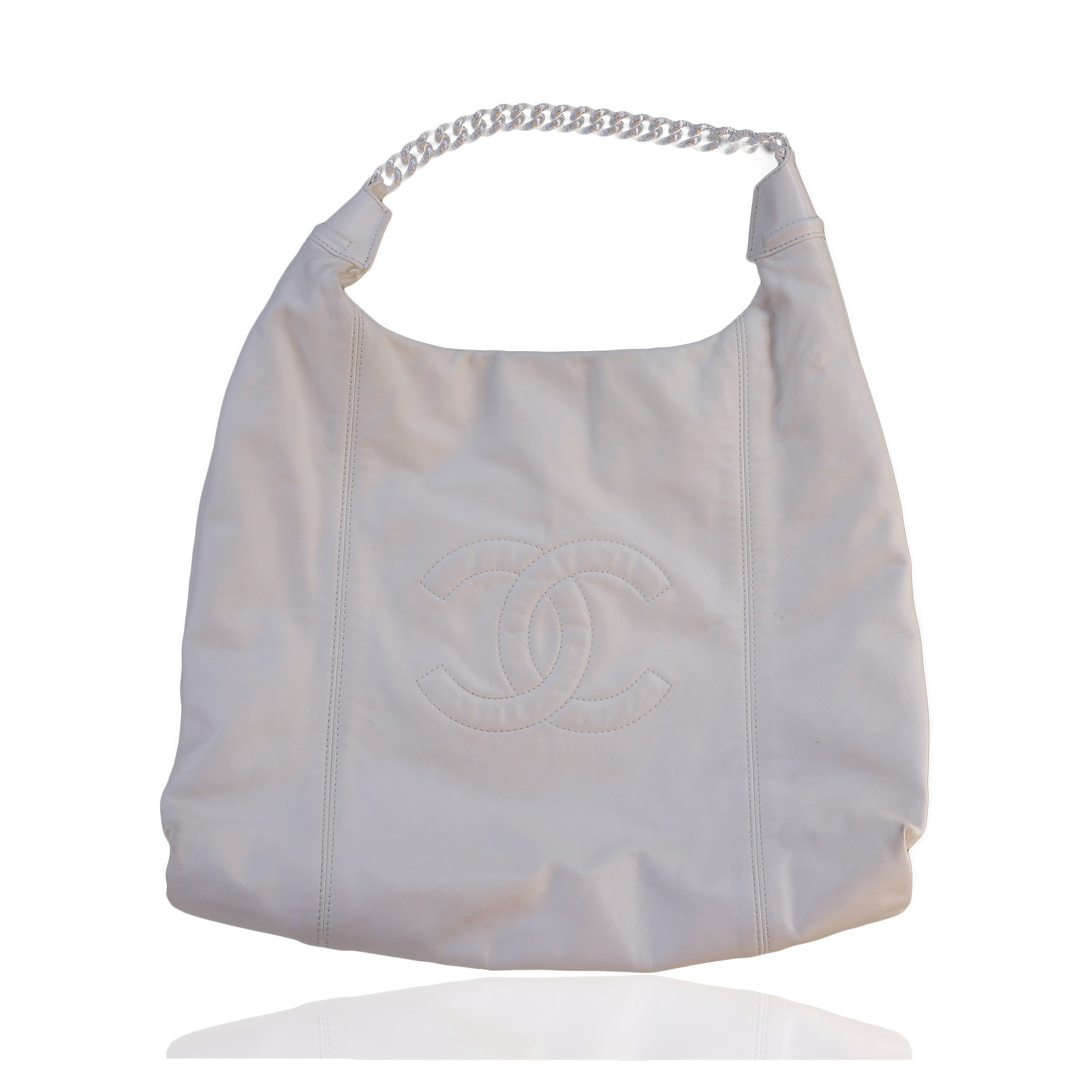 78ac98e69aa3 CHANEL SOFT   CHAIN LAMBSKIN LEATHER IVORY HOBO BAG Shop the best value on authentic  designer ...