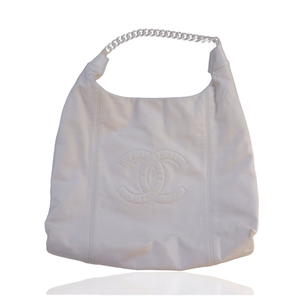 CHANEL SOFT & CHAIN LAMBSKIN LEATHER IVORY HOBO BAG