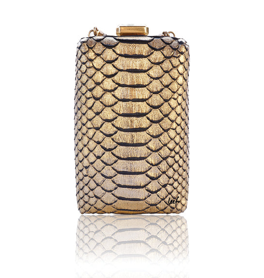 CHANEL RARE PARIS IN ROME GOLD PYTHON Il QUADRATO MINAUDIERE