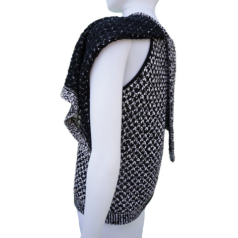 CHANEL 2017 BLACK AND  WHITE KNIT CAPE TOP - leefluxury.com