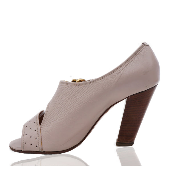 CHLOÉ LEATHER PEEP TOE MARY JANE PUMPS