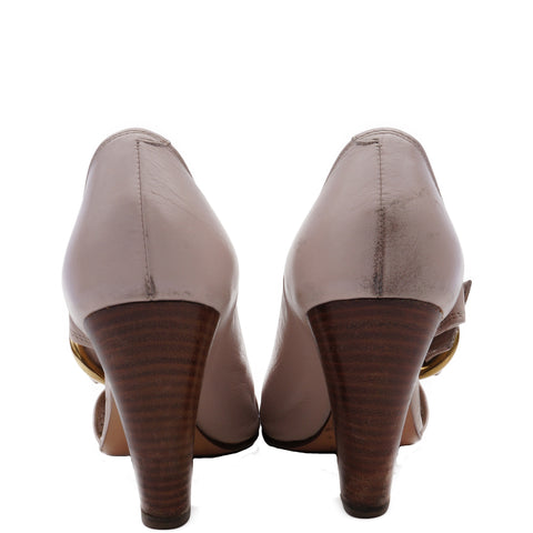 CHLOÉ LEATHER PEEP TOE MARY JANE PUMPS - leefluxury.com