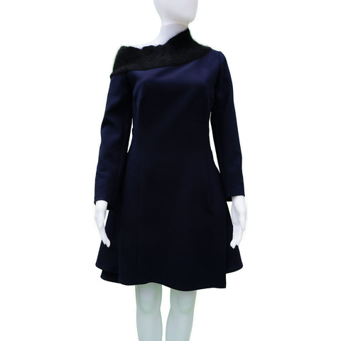 CHRISTIAN DIOR 2016 ANGORA NECK SHIFT DRESS Shop online the best value on authentic designer used preowned consignment on Leef Luxury.