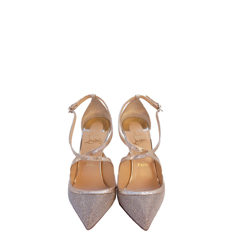 CHRISTIAN LOUBOUTIN CRISSOS 100 POINTED-TOE PUMPS Shop the best value on authentic designer resale consignment on Leef Luxury