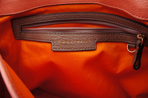 COCCINELLE GRAINED LEATHER TOP HANDLE BAG - leefluxury.com