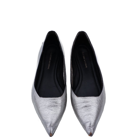 COSTUME NATIONAL SILVER METALLIC POINTED-TOE FLATS - leefluxury.com