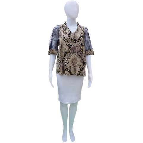 ETRO SILK AND LACE CROPPED SLEEVE TOP Shop the best value on authentic designer used preowned consignment on Leef Luxury