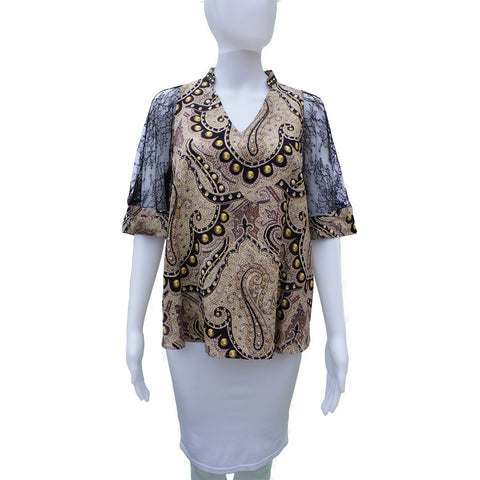 ETRO SILK AND LACE CROPPED SLEEVE TOP - leefluxury.com