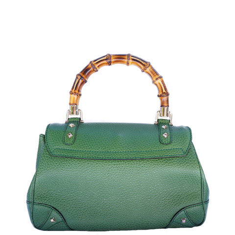 GUCCI NAILHEAD BAMBOO HANDLE BAG - leefluxury.com