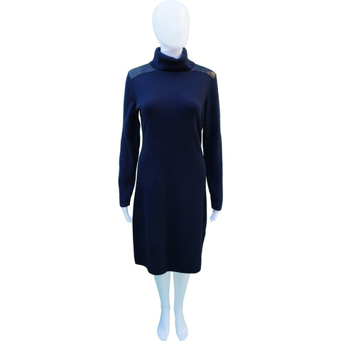 KATE SPADE LEATHER PATCH KNIT WOOL DRESS