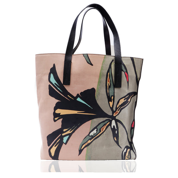 MARNI FLORAL PRINTED LEATHER TOTE BAG