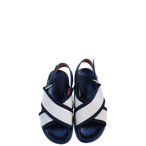 MARNI BLACK AND BEIGE CANVAS CRISS CROSS SANDALS - leefluxury.com